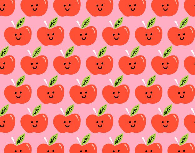 happy apple seamless pattern