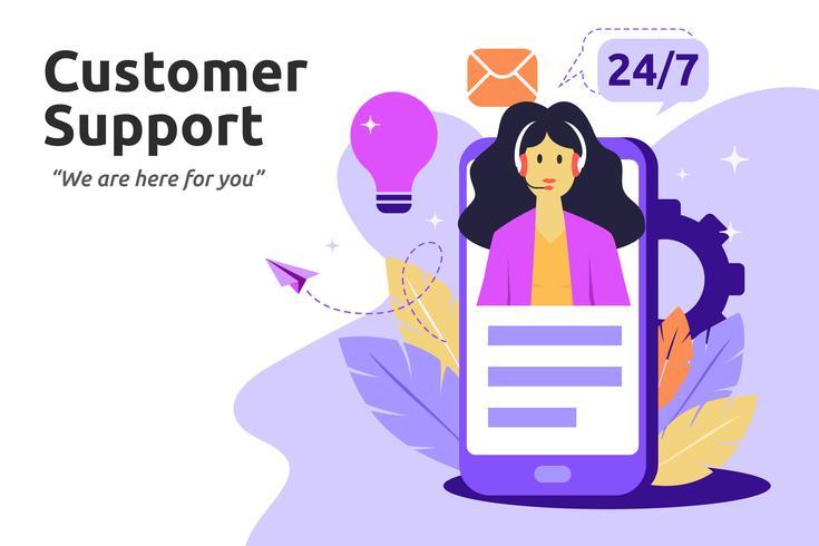Kunde und Betreiber, Online-Support-Konzept. Weiblich