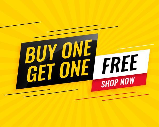 modern köp man får en gratis försäljning gul banner design