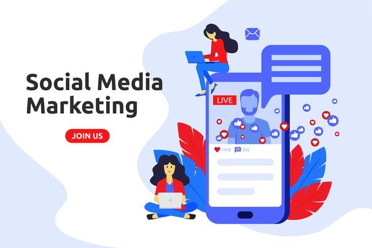 Modernes flaches Design-Konzept für Social-Media-Marketing. Männliche Brosche