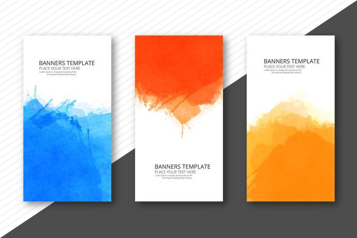 De zachte banners van het waterverf kleurrijke malplaatje geplaatst vectorontwerp vector