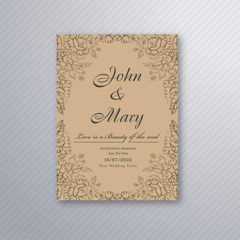Decoratieve bruiloft uitnodiging floral kaart ontwerpsjabloon