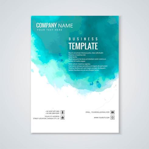 Abstrakt färgrik vattenfärg broschyr mall design