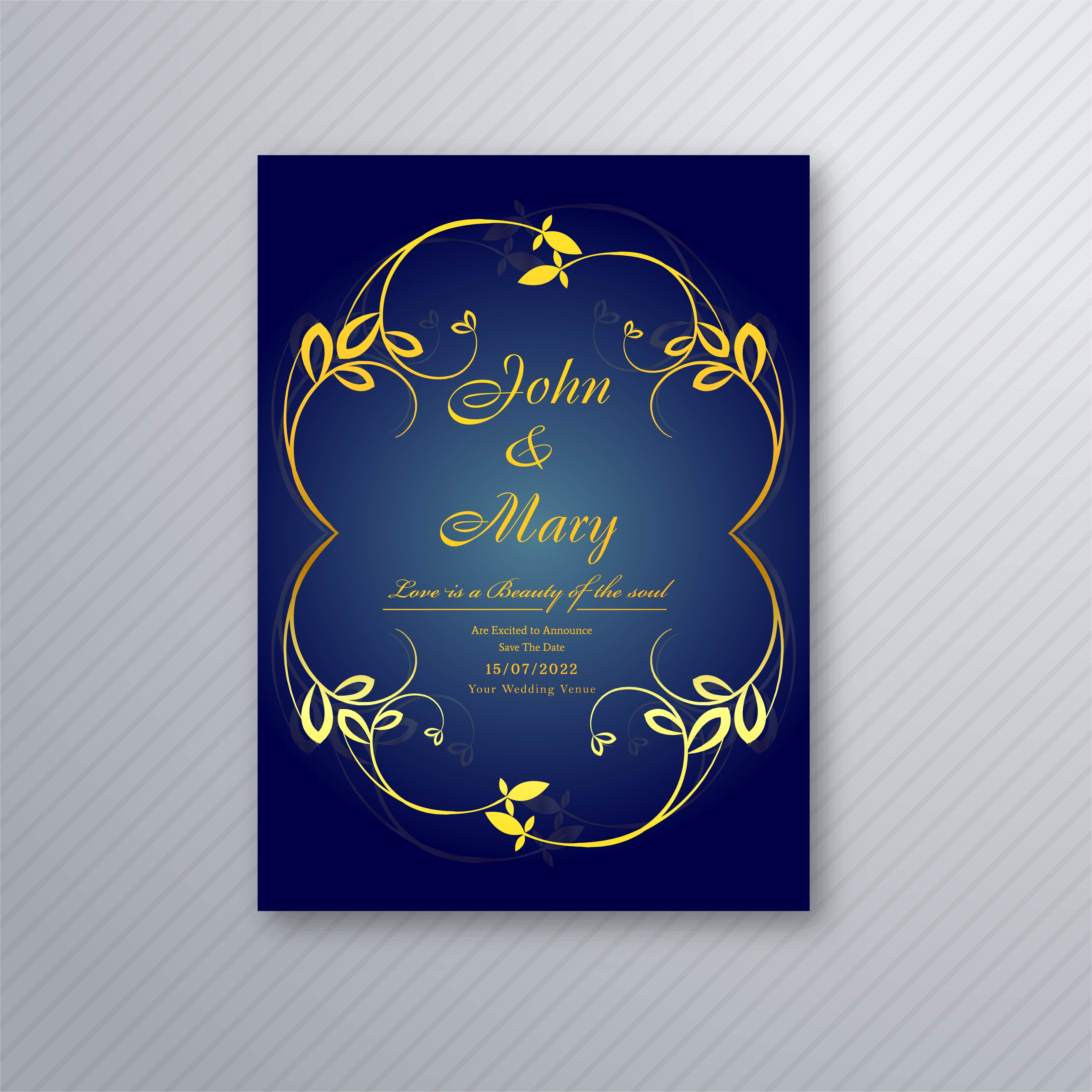 Invitation Card Template Video: Abstract Stylish Wedding Invitation Card Floral Template