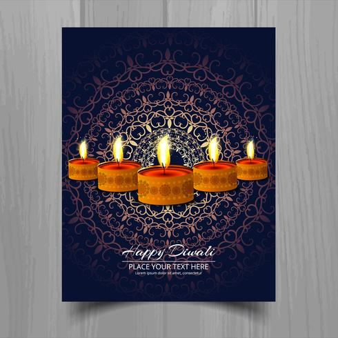 Happy diwali diya oil lamp festival brochure template design