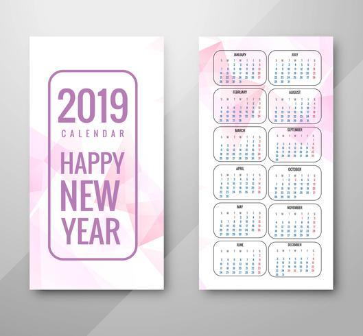 Anno 2019, Design del Calendario vettore