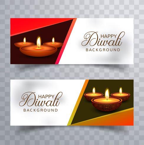 Cabeceras del festival diwali diya feliz lámpara de aceite set vector diseño