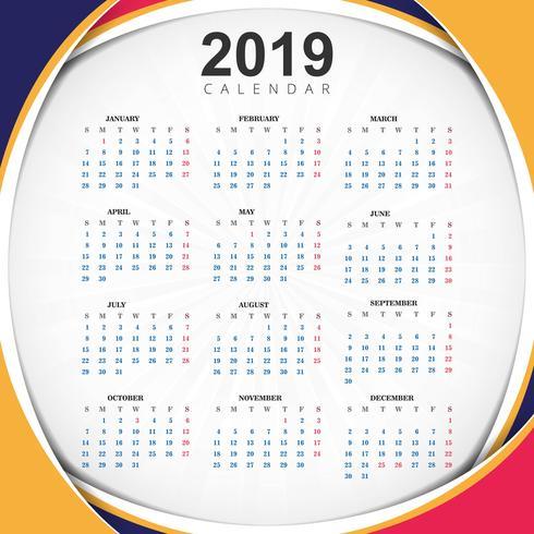 Année abstraite 2019, conception de calendrier