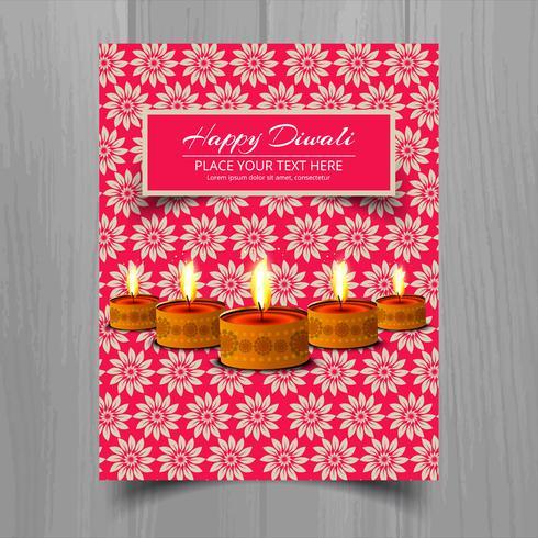 Joyeux diwali diya festival de lampes à huile design brochure modèle