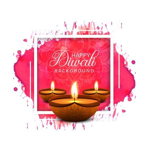 Hermosa tarjeta de felicitación para festival feliz diwali fondo vec