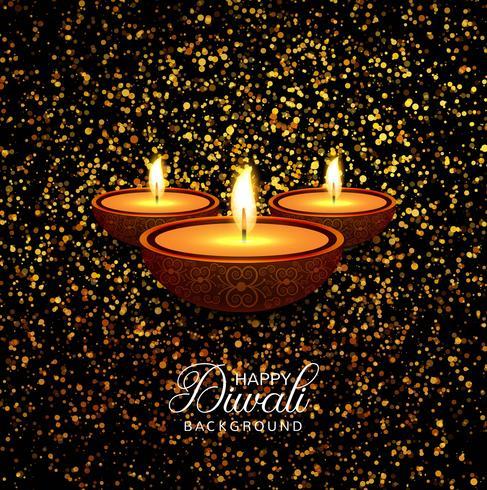 Happy diwali diya oil lamp festival glitters background