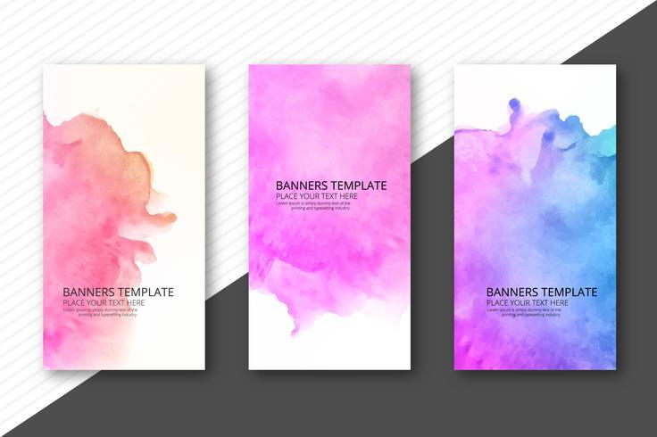 Abstrakt färgrik vattenfärg banners set design