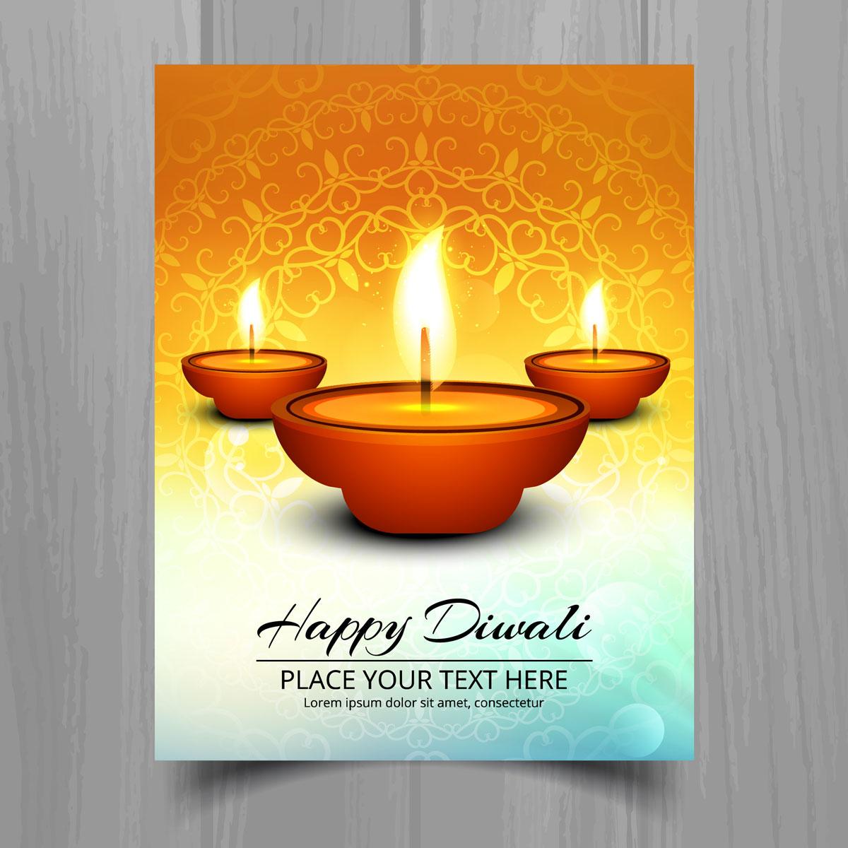 beautiful happy diwali diya oil lamp festival template