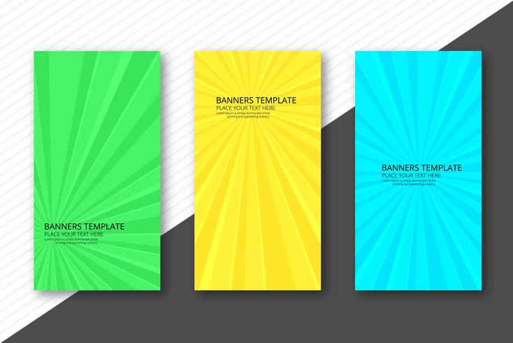Modern colorful rays banners set template background