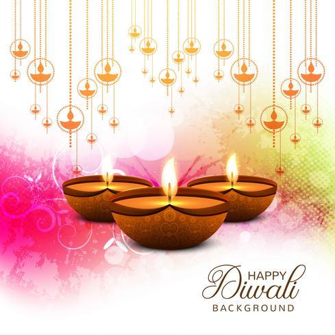 Ilustración feliz del fondo de la tarjeta del festival de la lámpara del aceite del diya de Diwali
