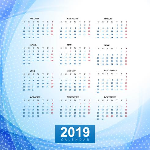 Calendar 2019 Template with wave background - Download ...