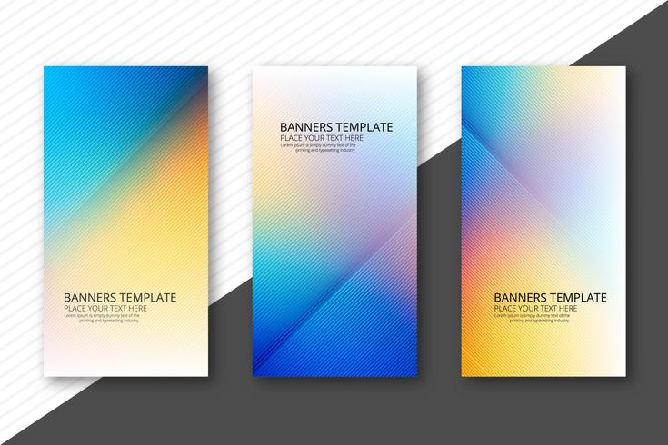 Banners coloridos hermosos set vector diseño de plantilla