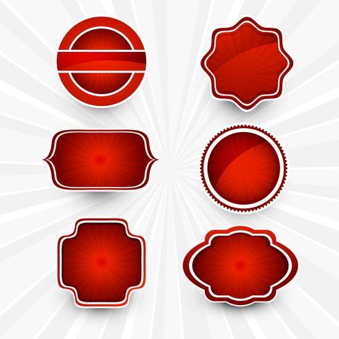 Resumen hermoso diseño conjunto de etiquetas rojas