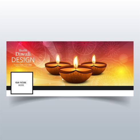 Hermosa feliz diwali diya lámpara de aceite festival facebook cubierta des