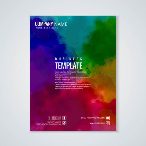 Diseño colorido abstracto de la plantilla del folleto de la acuarela