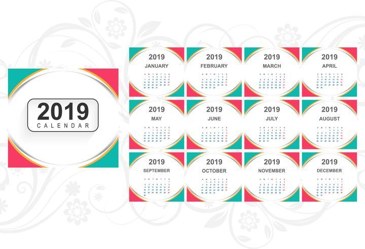 Kalender 2019 Mall med vågbakgrund