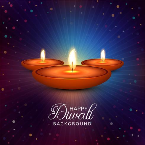 Mooie Gelukkige diwali diya olielamp festival achtergrond illustr