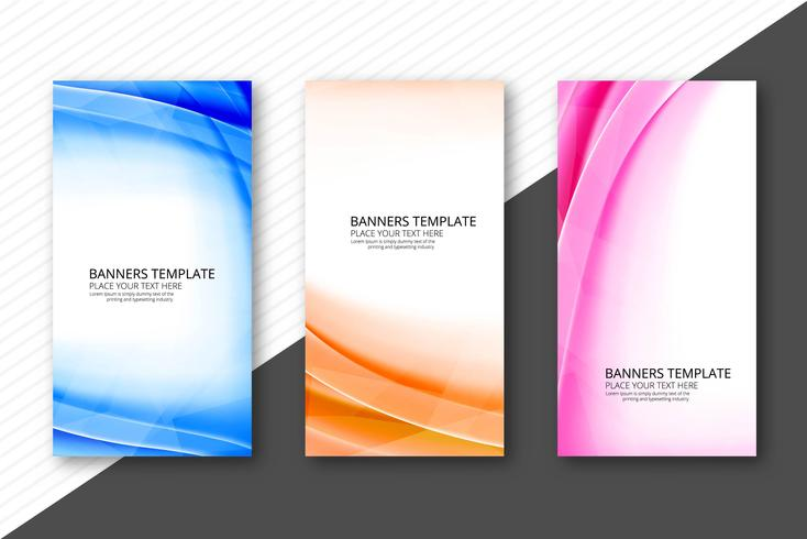 Cabeçalhos de onda colorida moderna definir design de modelo de negócio