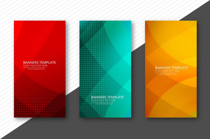Abstrakt färgstarka banners set designmall vektor