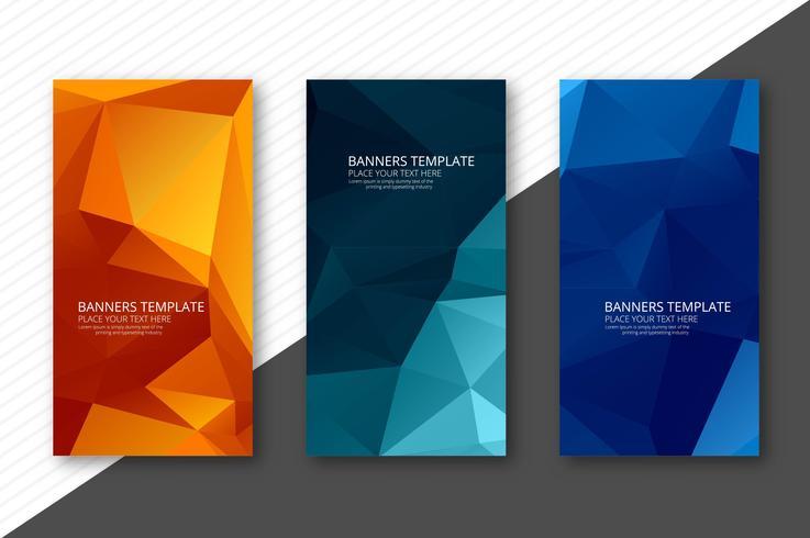 Bandeiras de polígono geométricas coloridas abstratas definir modelo de design