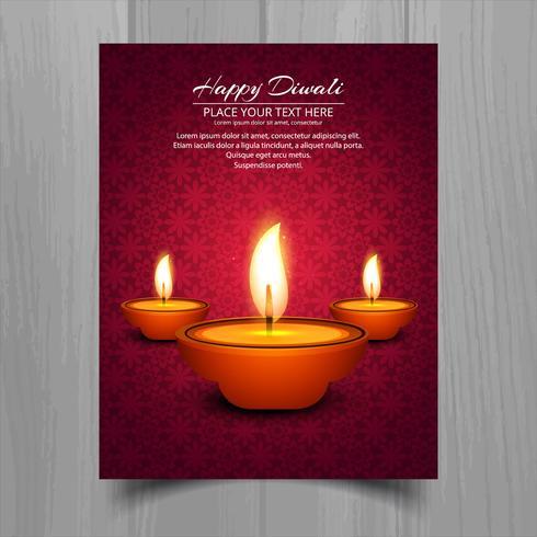 Projeto feliz do molde do folheto do festival da lâmpada de óleo do diya do diwali
