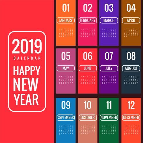 Anno 2019, Beautiful Calendar Creative Design