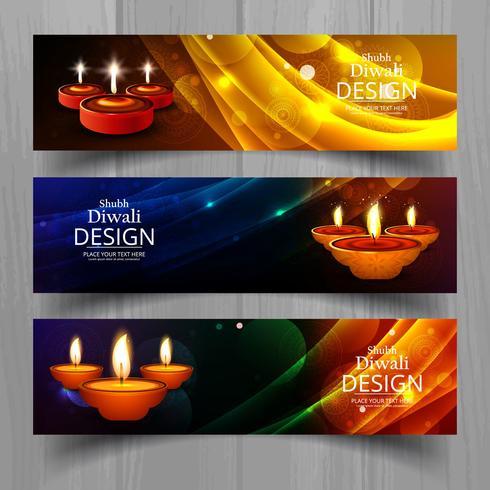 Feliz diwali diya óleo lâmpada festival cabeçalho definido modelo de design
