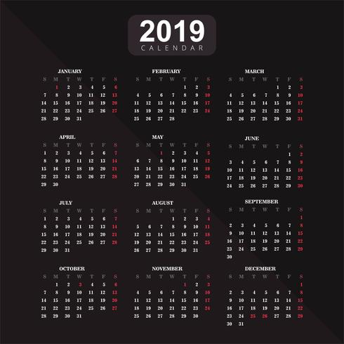 Year 2019, Calendar Vector Background
