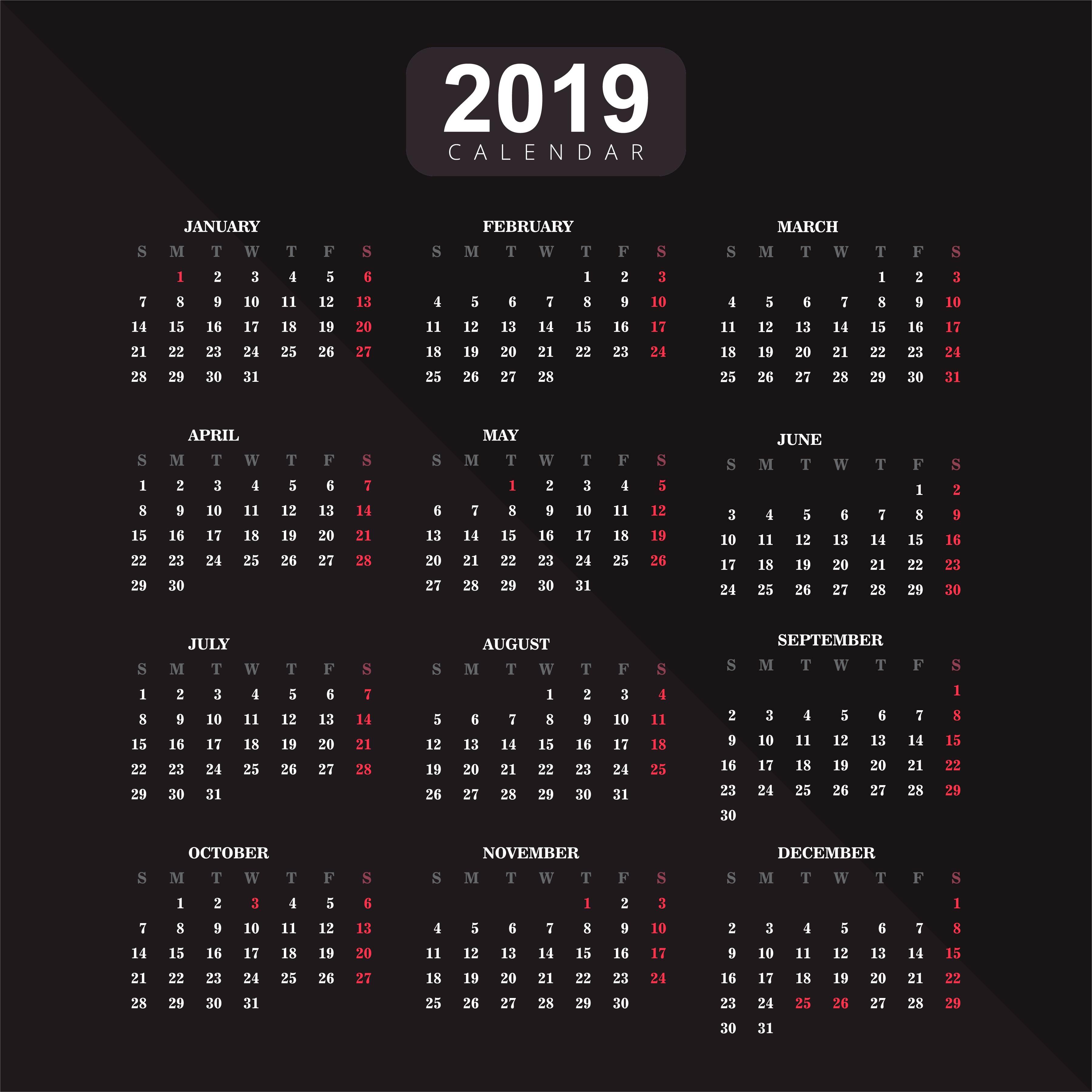 Calendar 2019 Vector Download