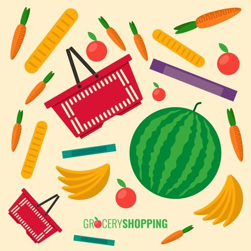 Cesta de compras plástica roja llena de comestibles Ilustración vectorial