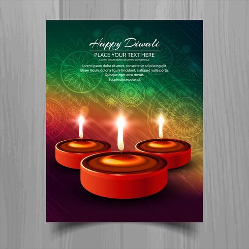 Feliz diwali diya lámpara de aceite festival folleto plantilla diseño