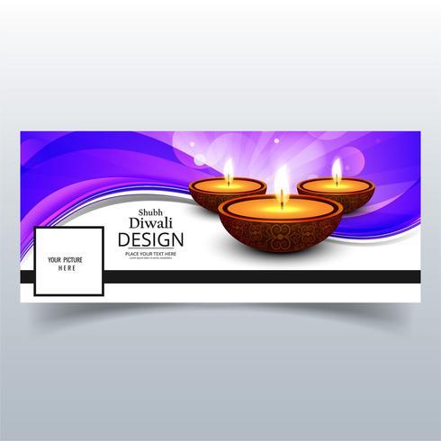 Linda feliz diwali diya óleo lâmpada festival facebook cover des
