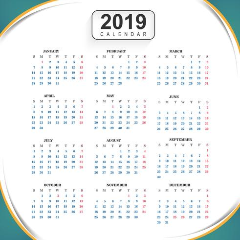 Calendar 2019 Template With Wave Background Download