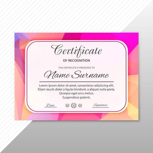 Certificado criativo abstrato de des de modelo de prêmio de valorização