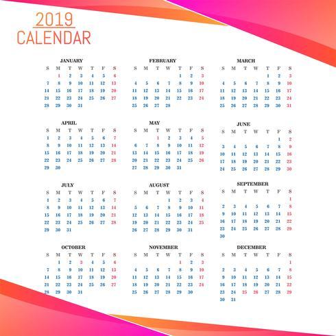 Year 2019, Calendar Beautiful Design vector