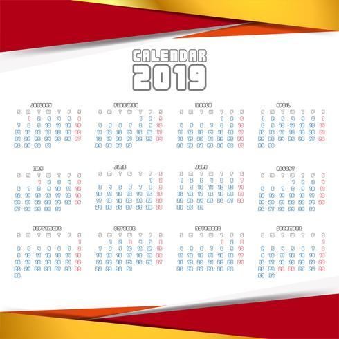 Year 2019, Calendar Creative Design