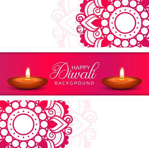 Vector de fondo de lámpara de aceite decorativo de Diwali feliz celebración