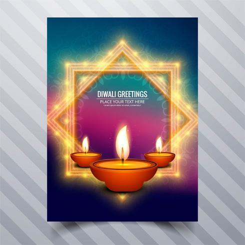 Schöne glückliche diwali diya Öllampen-Festivalschablonenbroschüre