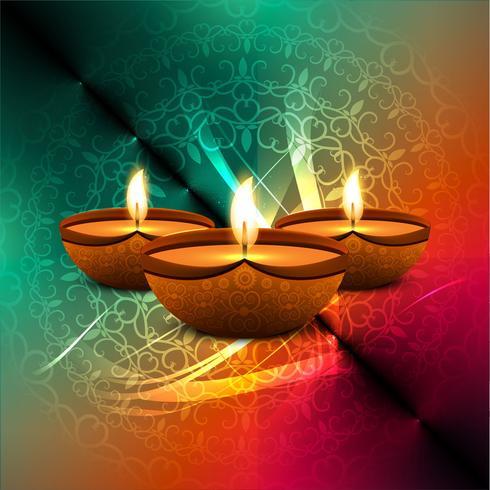 Joyeux diwali diya illustration de fond de festival de lampe à huile