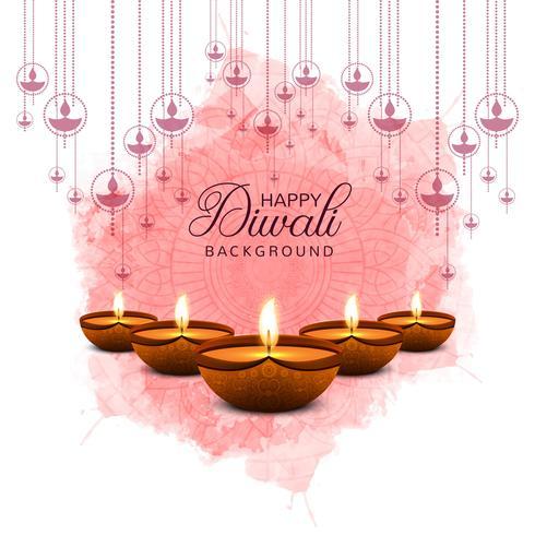 Lindo cartão de felicitações para festival de celebração diwali vetor