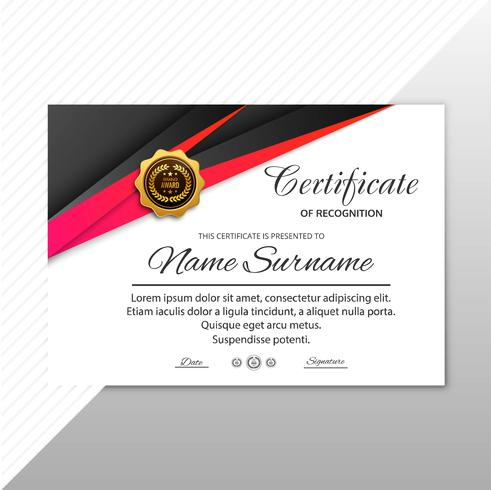 Certificate template with modern style design vector