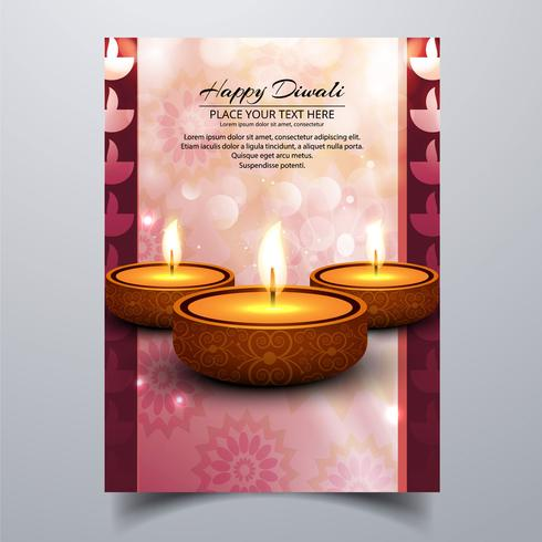 Linda feliz diwali diya óleo lâmpada brochura de modelo de festival