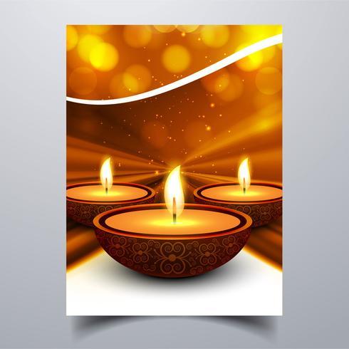 Mooie Gelukkige diwali diya olielamp festival sjabloon brochure