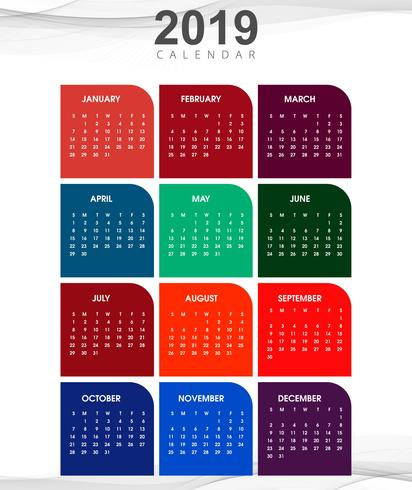year 2019 calendar creative design