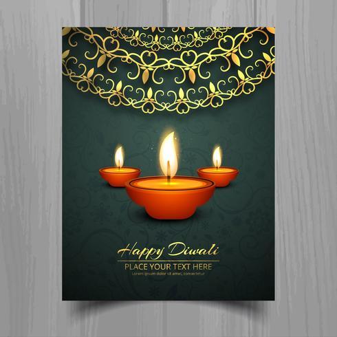 Gelukkige diwali diya olie lamp festival brochure sjabloonontwerp
